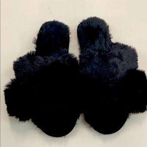 Shoes - Faux Fur Slip On Shoes